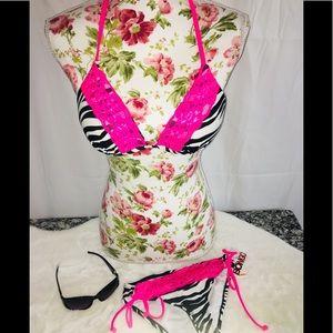 BONGO Zebra Print Bikini Sz SM (Juniors)